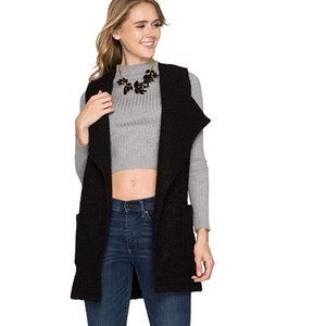 She + Sky Belted Long Faux Fur Vest with Pockets